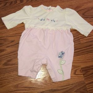 3 month pink and white onesie with flowers